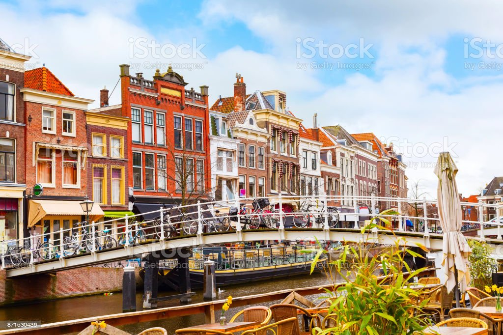 Traditional houses in downtown of Leiden, Netherlands stock photo