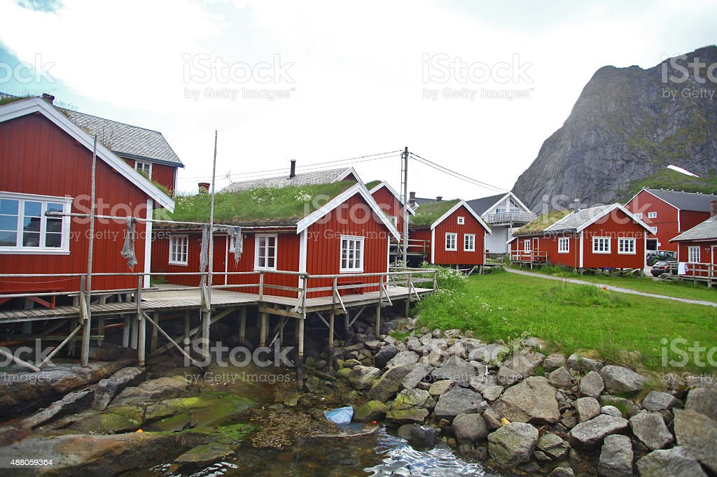 Traditional houses in Lofoten, Norway stock photo