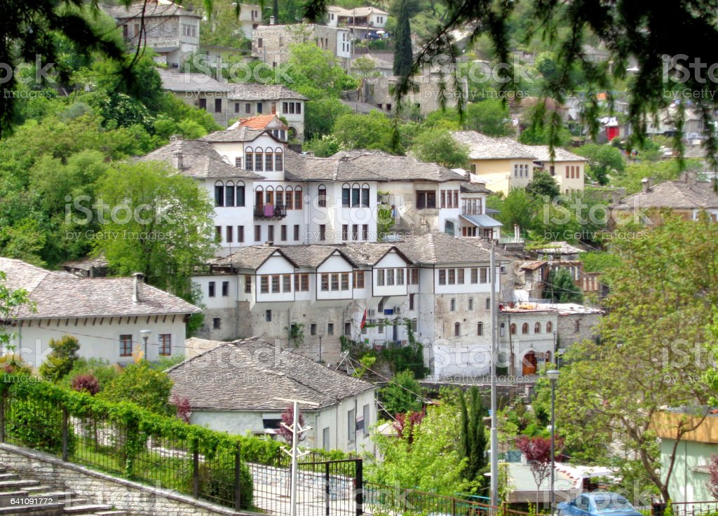 Traditional houses in the Old City of Gjirokaster, Albania stock photo