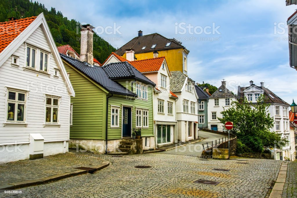 Traditional houses in the old town of Bergen, Norway. Bergen is the second largest city in Norway. stock photo