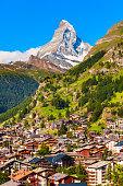 Zermatt town and Matterhorn mountain aerial panoramic view in the Valais canton of Switzerland