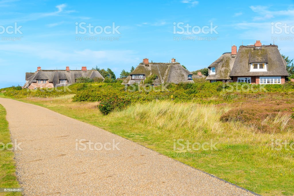 Traditional houses with thatched roofs in countryside landscape of Sylt island in Kampen village, Germany stock photo