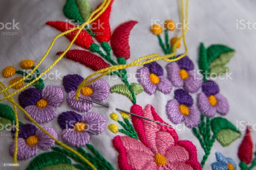 Traditional hungarian decorative embroidery. stock photo