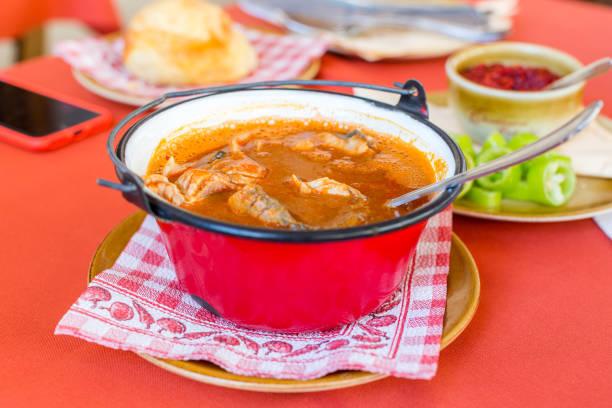 傳統匈牙利魚湯在紅水壺裡 - 匈牙利文化 個照片及圖片檔