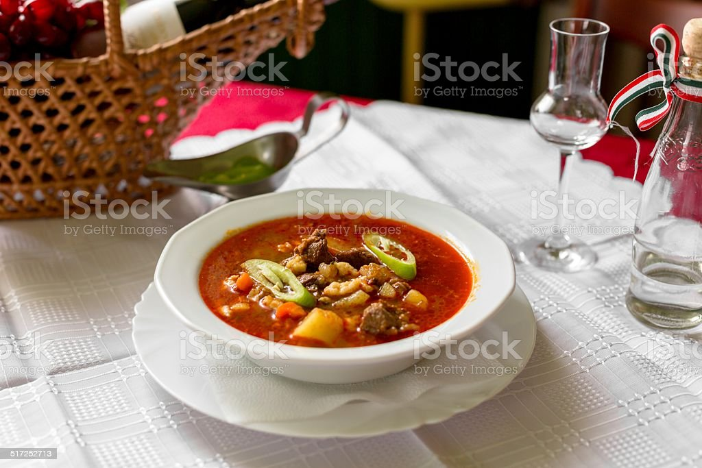 Traditional Hungarian goulash stock photo
