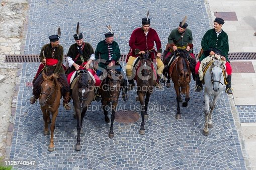 Budapest, Hungary: 11 August 2018 - Men in Traditional Hungarian Military Outfits on Horses near Budapest Castle