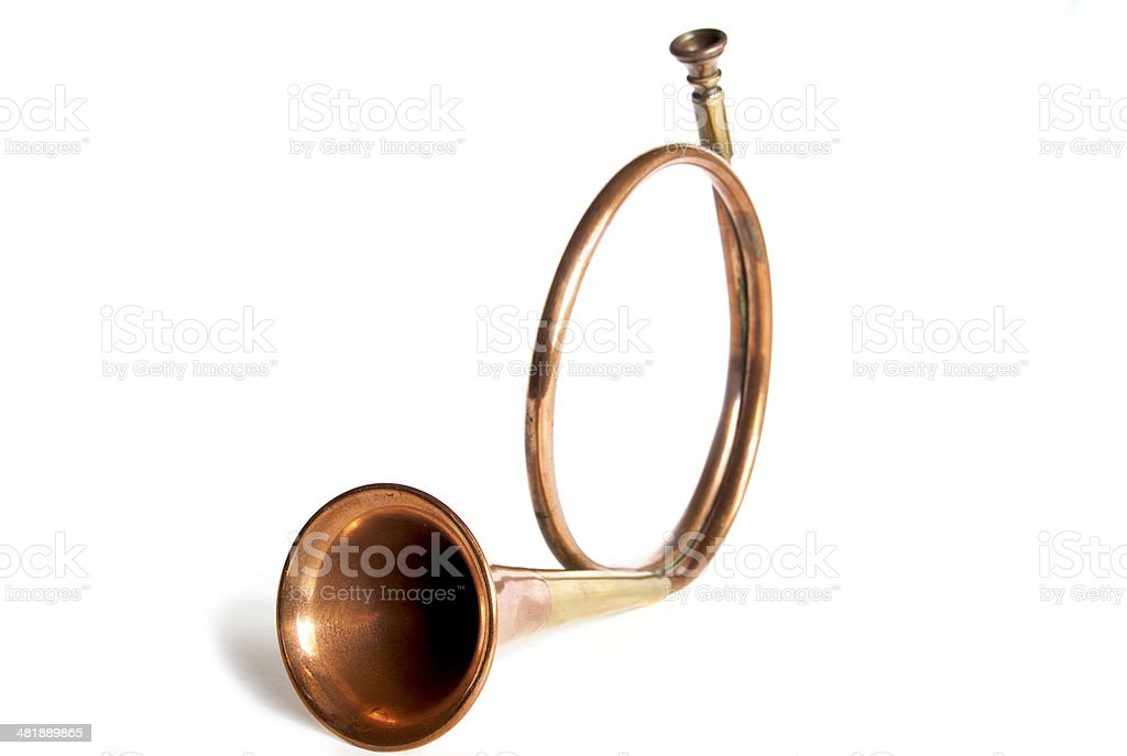 Traditional Hunters Horn in Copper and Brass royalty-free stock photo