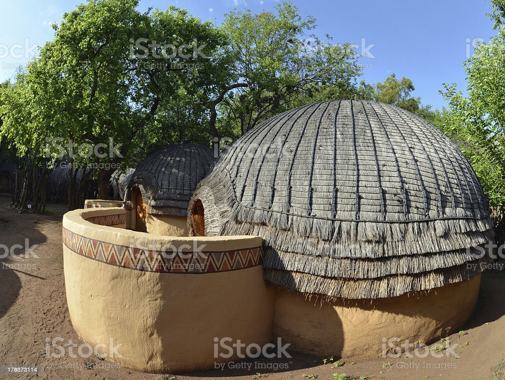 Traditional hut, Africa stock photo