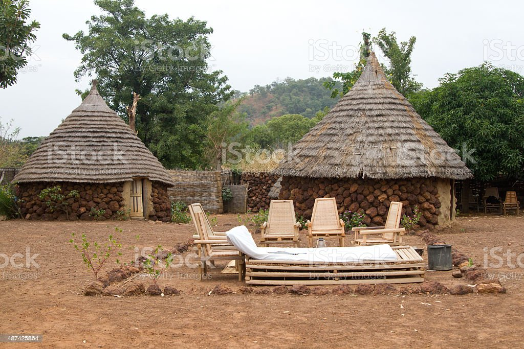 Traditional hut in Campament Ethiolo, Senegal, Africa stock photo
