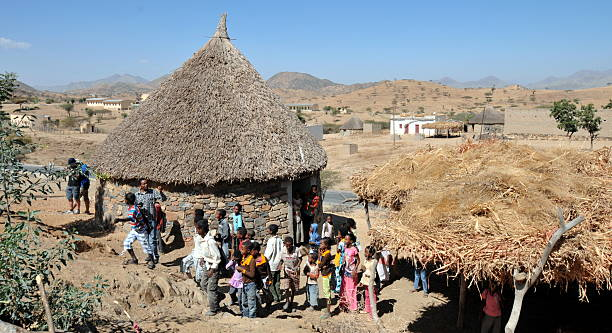 traditional hut in eritrea - eritrea stock photos and pictures