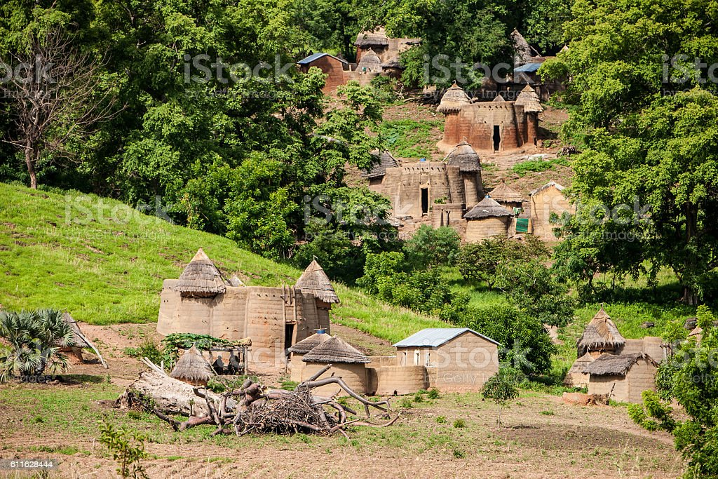 Traditional huts in the Tamberma Valley, Togo stock photo