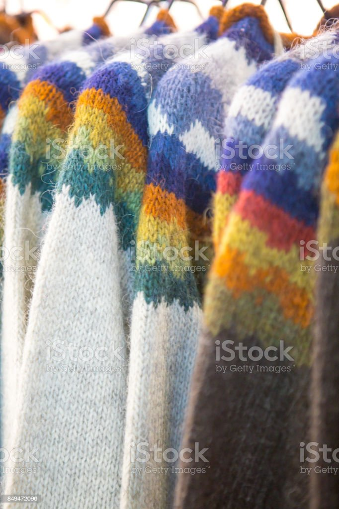 Traditional Icelandic Pure Wool Sweaters For Sale Stock Photo More