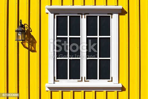 Traditional icelandic wooden facade, Siglufjordur, north of Iceland.