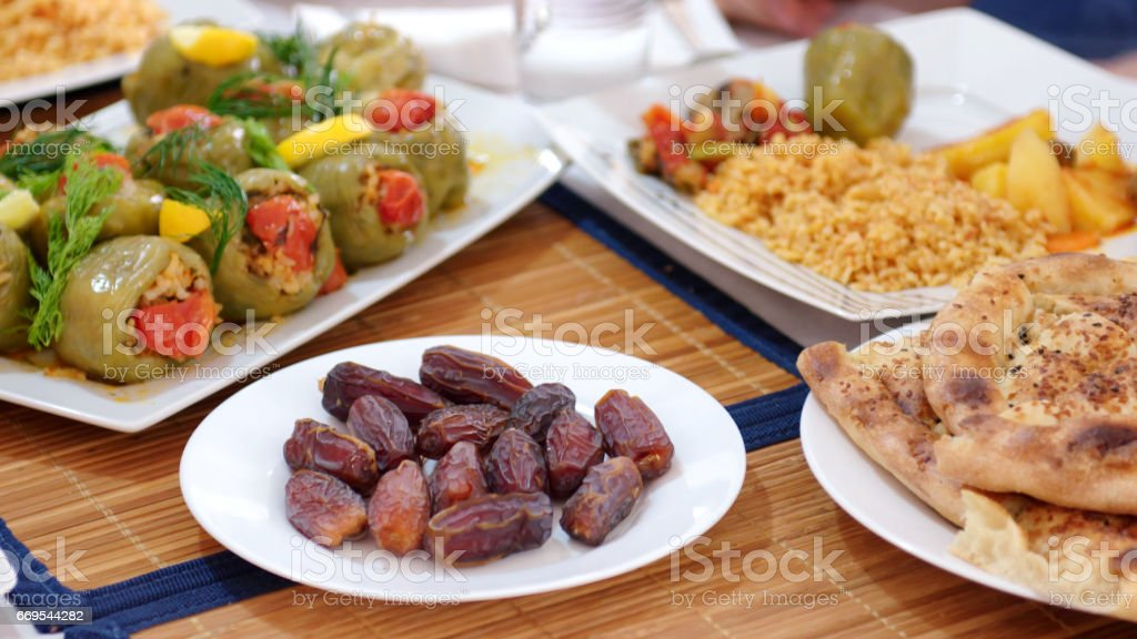 Traditional iftar food stock photo