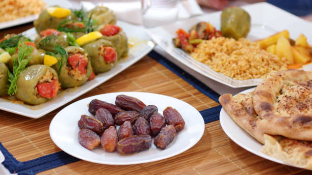Traditional iftar food stock photo