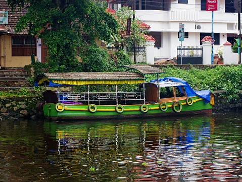 Alleppey, India - October 18, 2014: Traditional Indian boats  in Alleppey (Alappuzha) on Kerala backwaters.