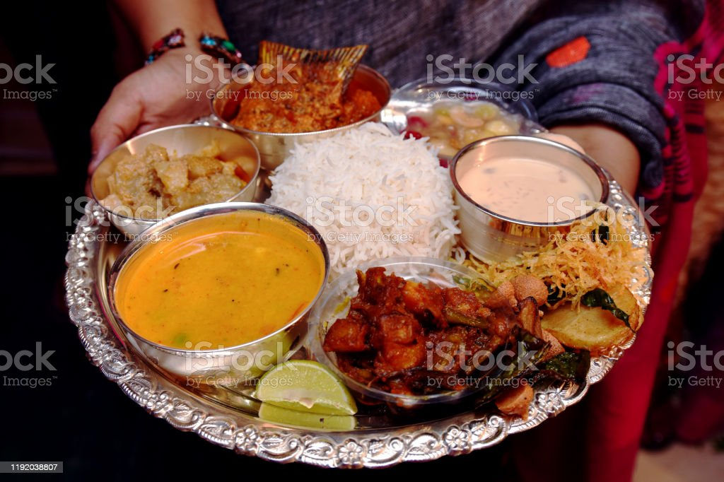 Traditional Indian Food Served In An Silver Plate For Bride And Groom In A Wedding Ceremony Stock Photo Download Image Now Istock