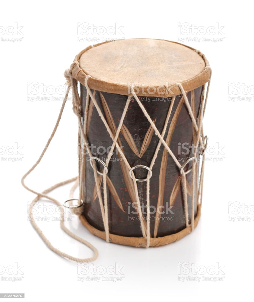 Traditional Indian handcrafted drum stock photo