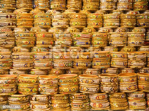 Full Frame of traditional Indian bracelets for sale