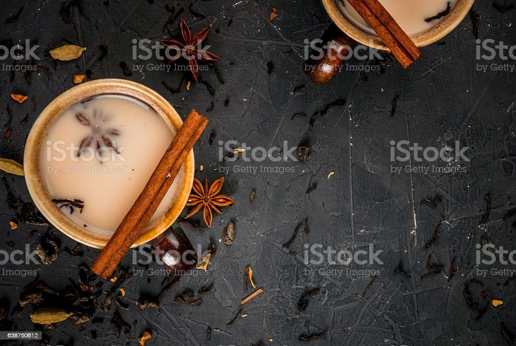 Traditional Indian masala chai stock photo