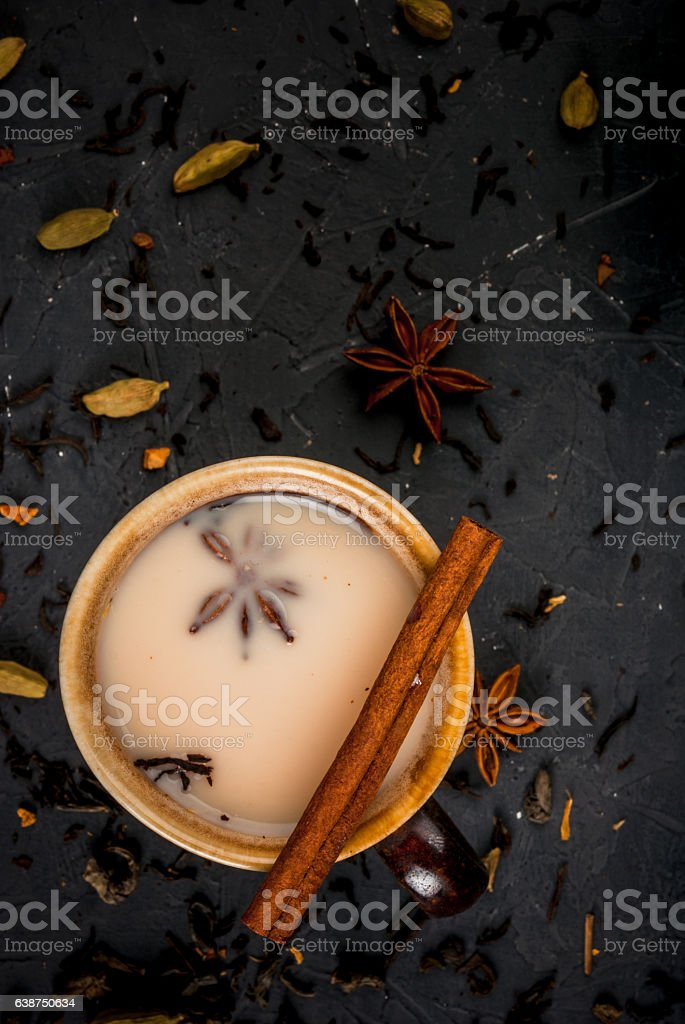 Traditional Indian masala chai stock photo