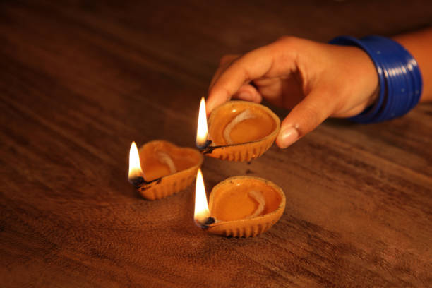 Traditional Indian oil lamps stock photo