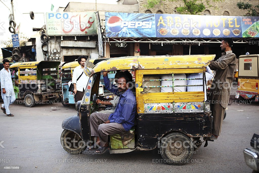Traditional Indian Style Rickshaws in Saddar Karachi stock photo