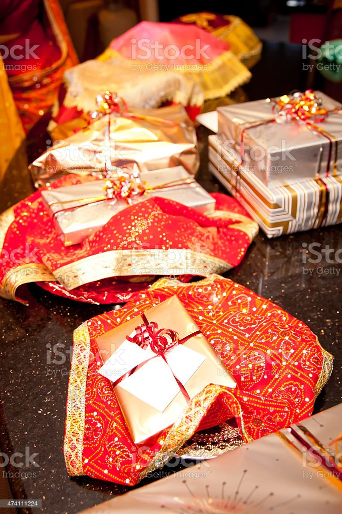 Traditional Indian Wedding Engagement Gifts Red Gold Stock Photo