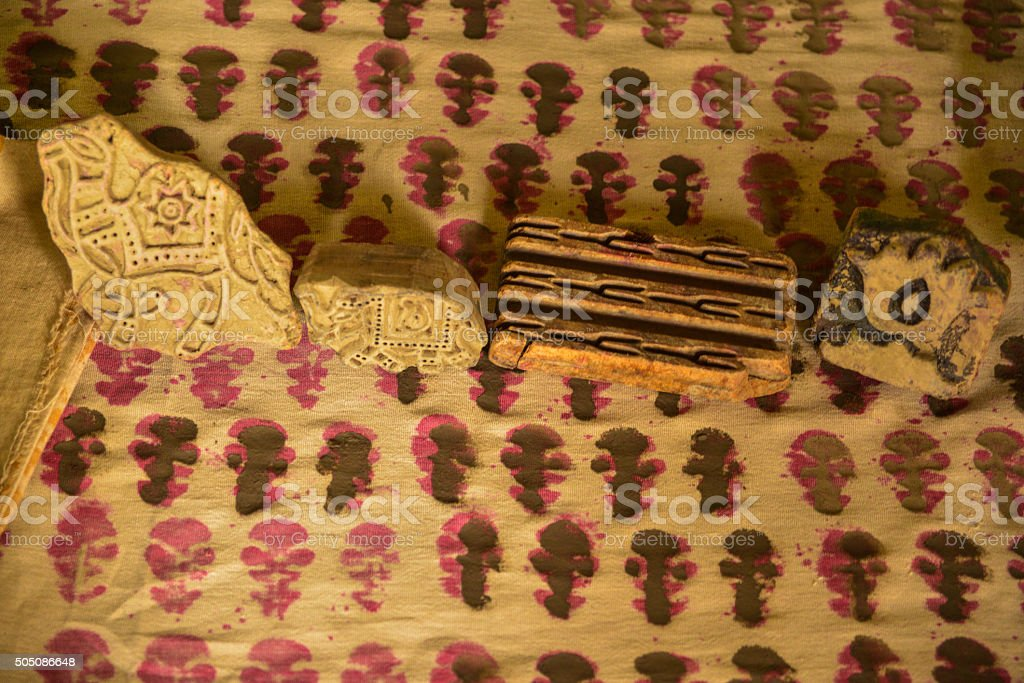 Traditional Indian Woodblock Print and Blocks, India stock photo