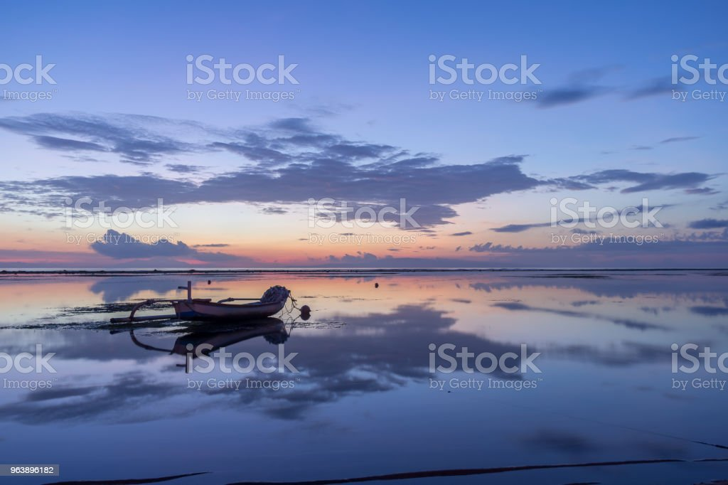 traditional indonesian fishing boat in blue twilight - Royalty-free Asia Stock Photo