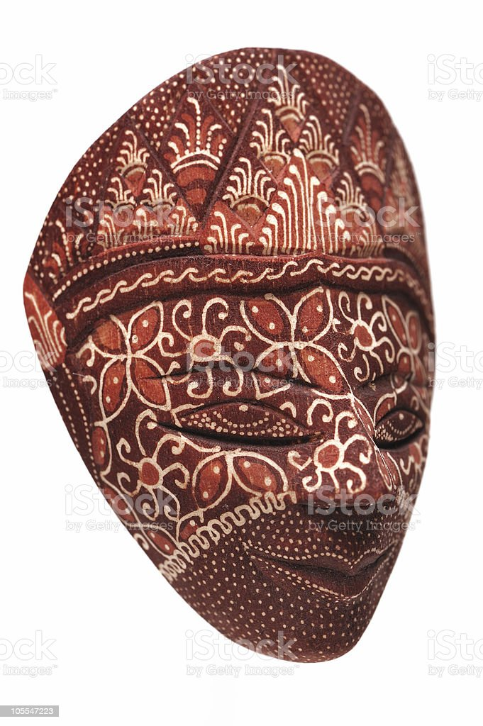 Traditional indonesian mask on a white background royalty-free stock photo
