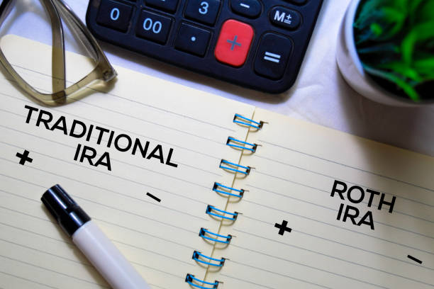 Traditional IRA and Roth IRA text on a book isolated on office desk. stock photo