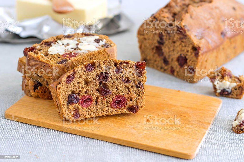Traditional Irish Barmbrack Tea Cake stock photo