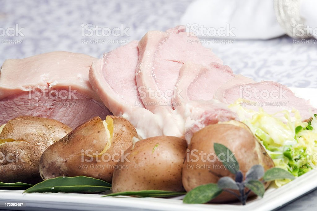 Traditional Irish boiled bacon and cabbage stock photo