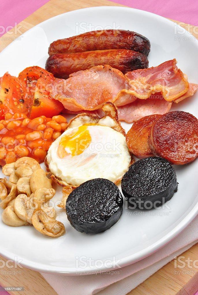 traditional irish breakfast on a large plate stock photo