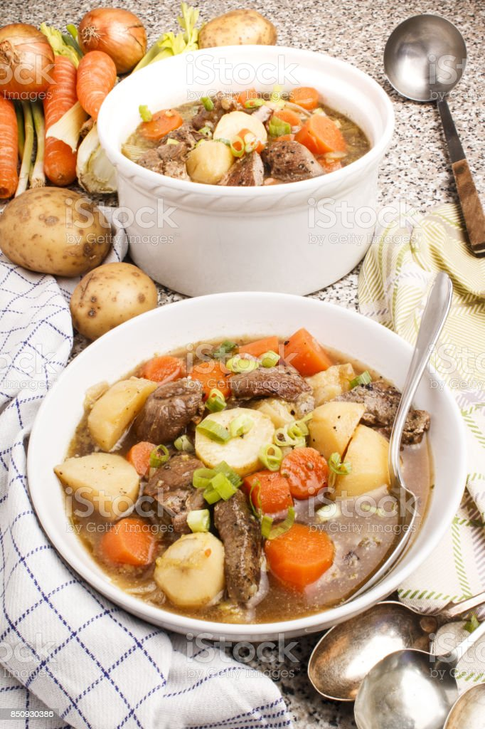 traditional irish lamb stew with potato, carrot, celery and spring onion stock photo