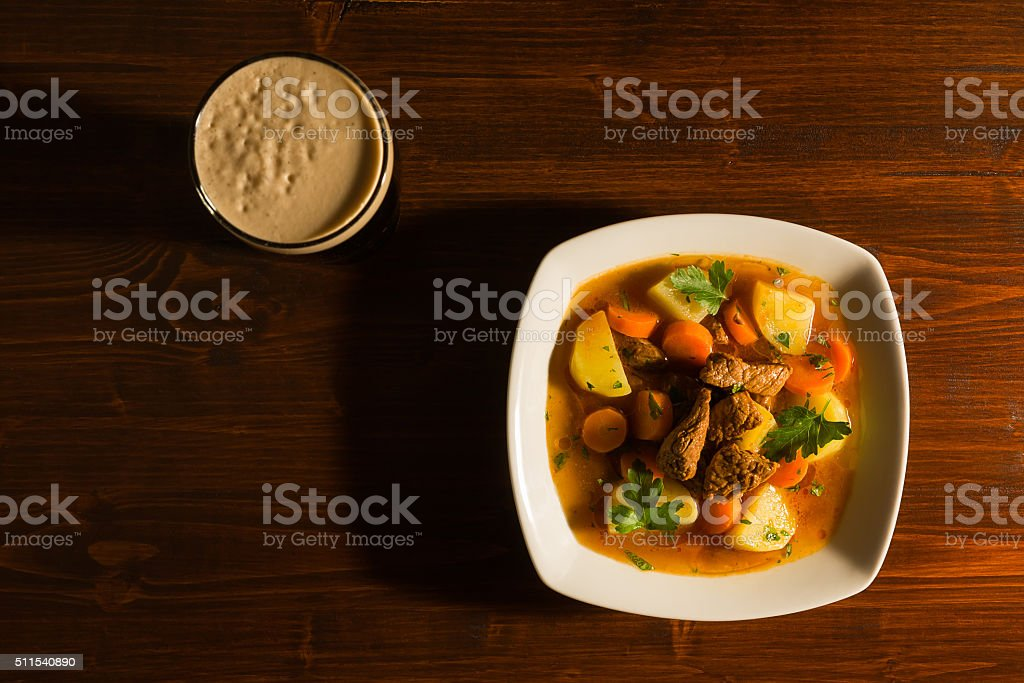 Traditional Irish Stew seen from above stock photo