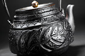 Traditional iron teapot in simple background