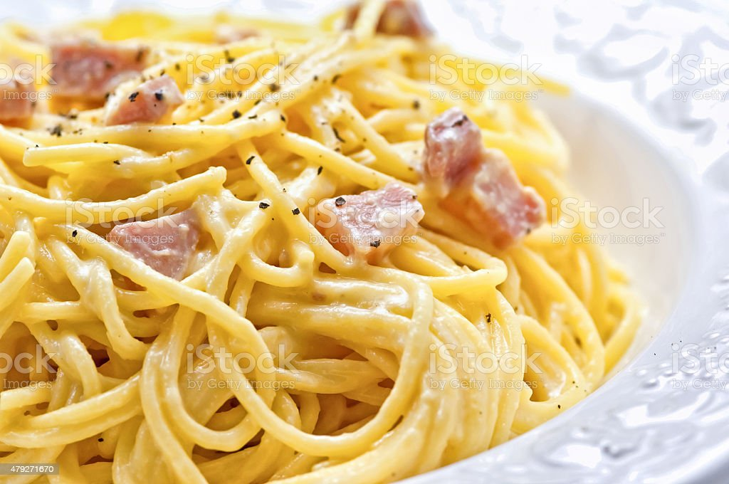 Traditional italian carbonara pasta stock photo