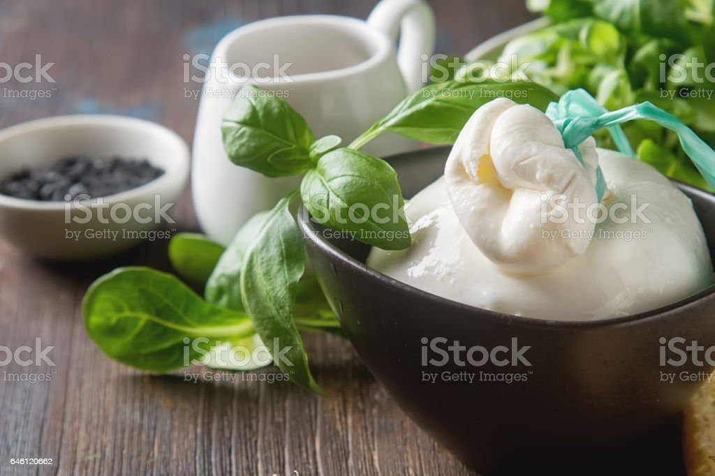 Traditional Italian cheese burrata, fresh baked homemade grissin stock photo