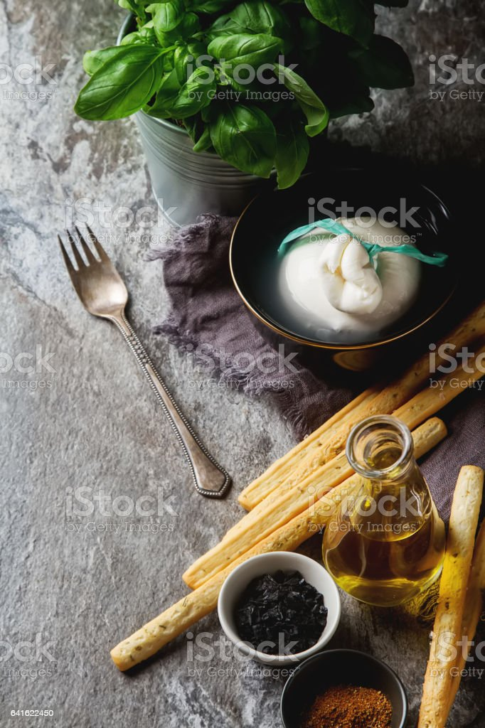 Traditional Italian cheese burrata, homemade grissini bread stic stock photo