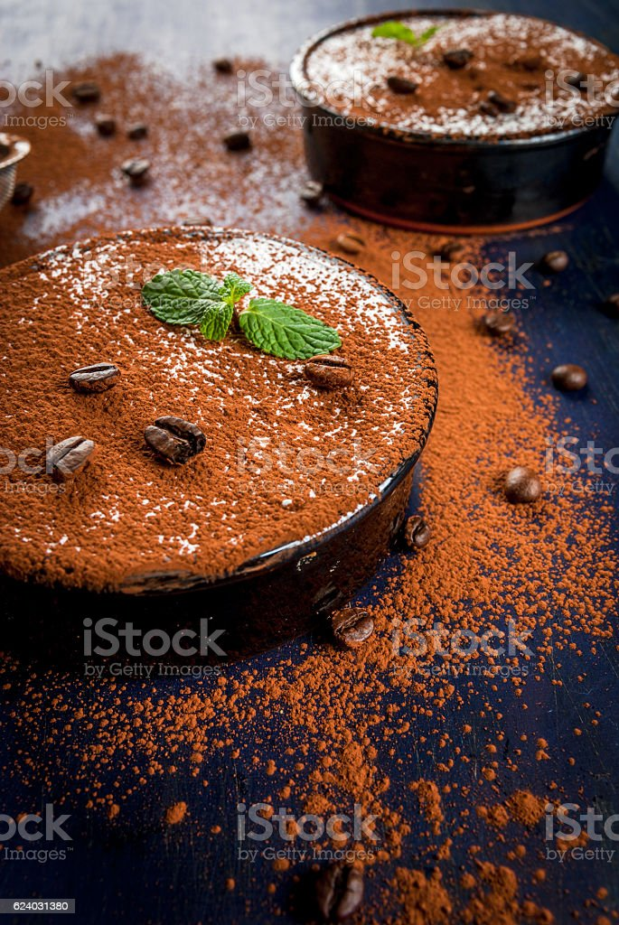 Traditional Italian dessert tiramisu stock photo