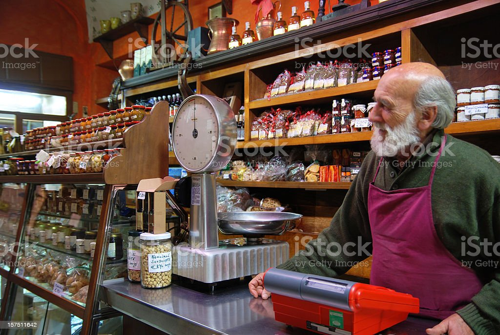 Traditional Italian food store stock photo