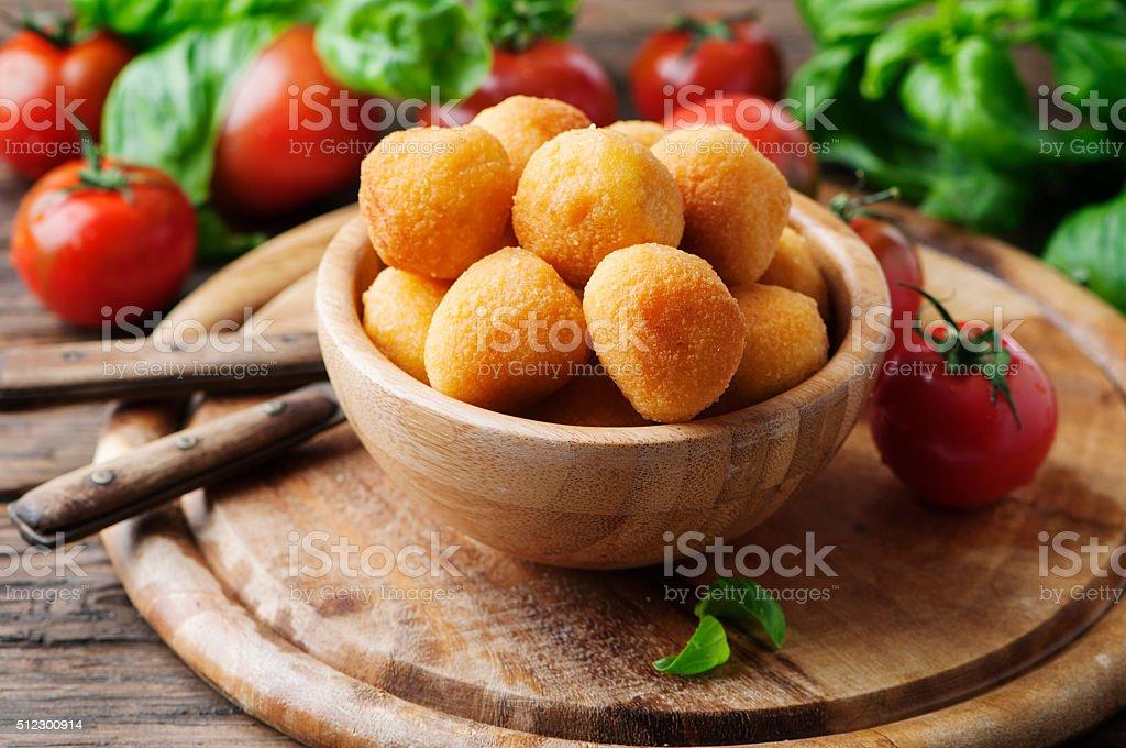 Traditional italian fried balls of mozzarella stock photo
