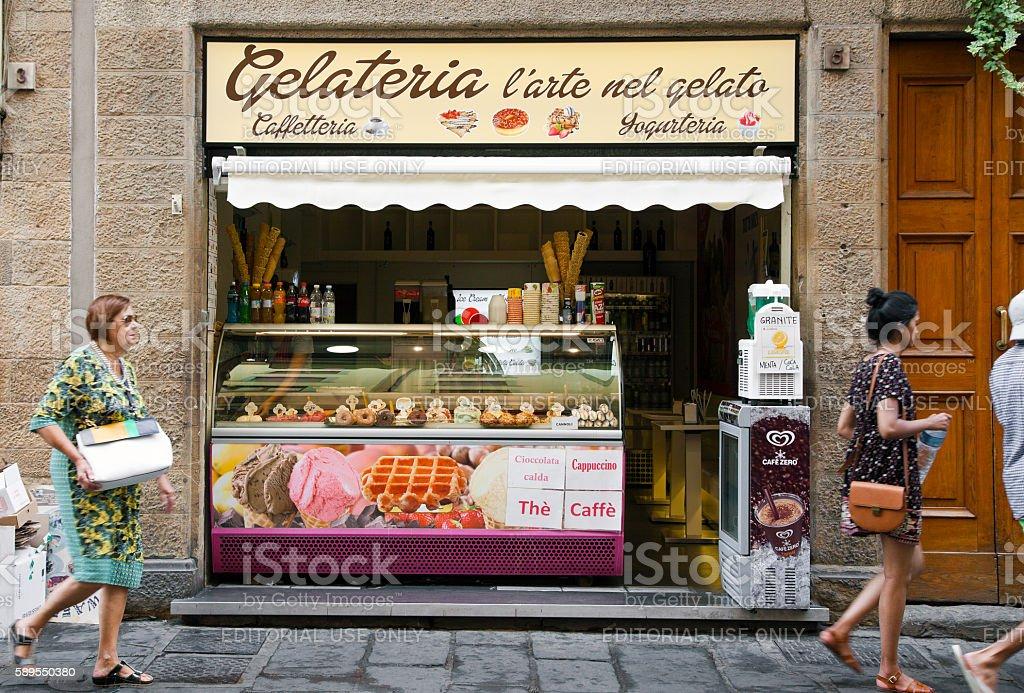 Traditional italian gelateria stock photo