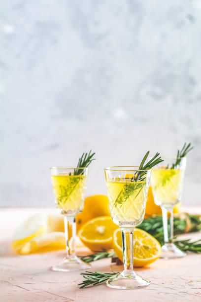 Traditional italian homemade lemon alcohol drink liqueur limoncello stock photo