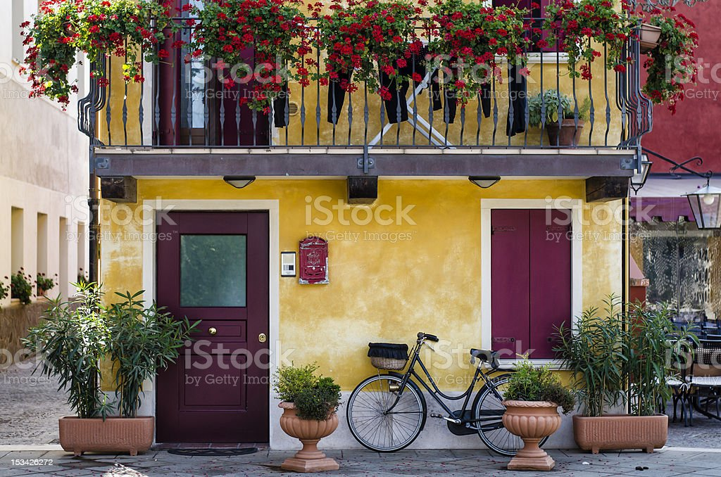 traditional italian house and road at the sea, Caorle, Veneto stock photo