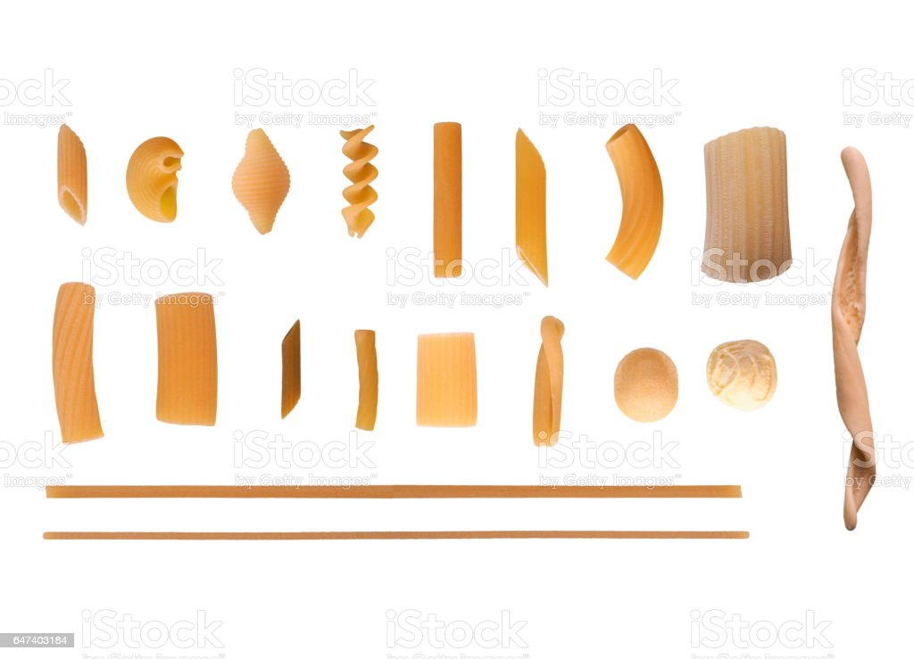 Traditional Italian pasta isolated over white stock photo