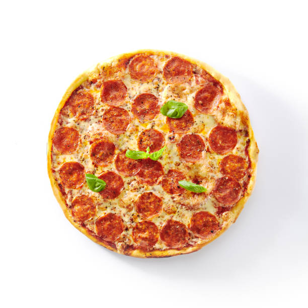 Traditionelle italienische Pepperoni Pizza, isoliertfast Food Top View – Foto