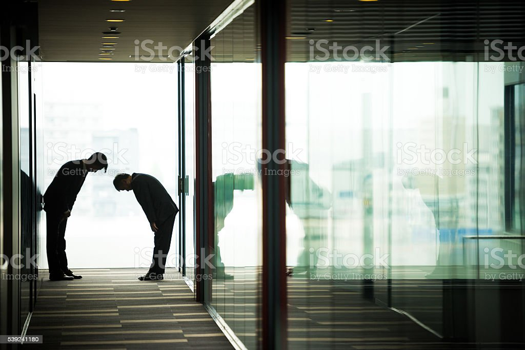 Traditional Japanese business greeting royalty-free stock photo